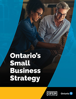 Cover of Ontario's Small Business Strategy document, which includes a photo of two people in a business setting