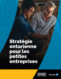 Page couverture du document Stratégie ontarienne pour les petites entreprises, qui comprend une photo de deux personnes dans un contexte d'affaires.