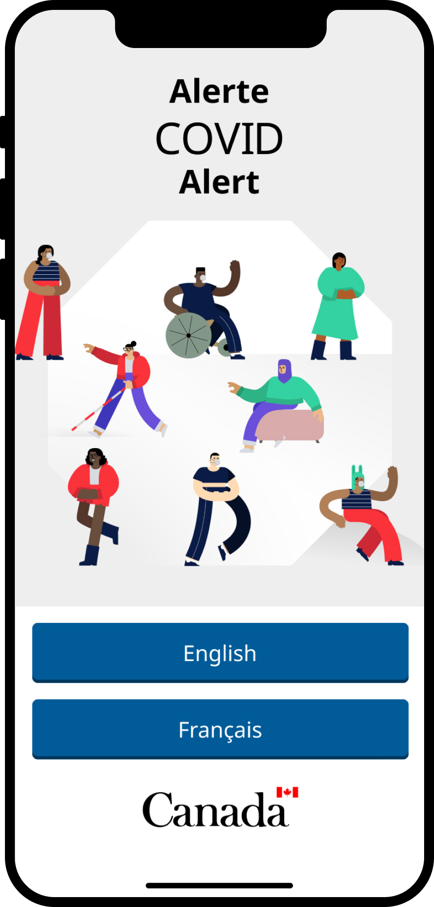 Screenshot of the COVID Alert start page in an iPhone frame. Includes an illustration of 8 people enjoying a public space and the option to choose English or French for the app language.