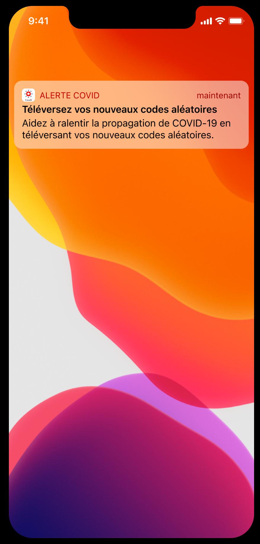 Saisie d'écran d'une notification directe dans un cadre d'appareil iPhone qui dit « Vous avez été exposé. Vous avez eu un contact étroit avec une personne qui a signalé un diagnostic de COVID-19 au moyen de l'application. Informez-vous sur les étapes à suivre.»